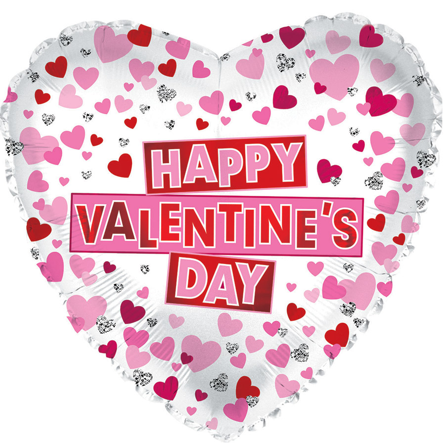"""17"""" Happy Valentine's Day Red & Pink Hearts Foil Balloon"""