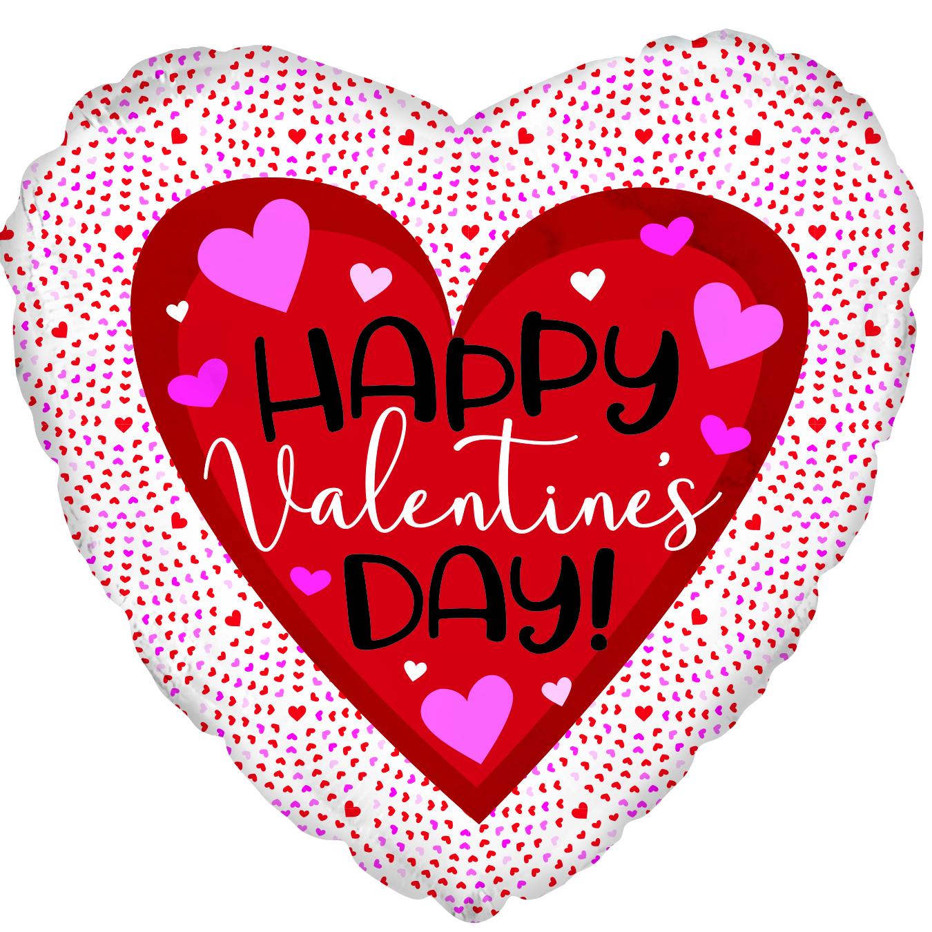 """18"""" Happy Valentine's Day Tiny Hearts Foil Balloon"""
