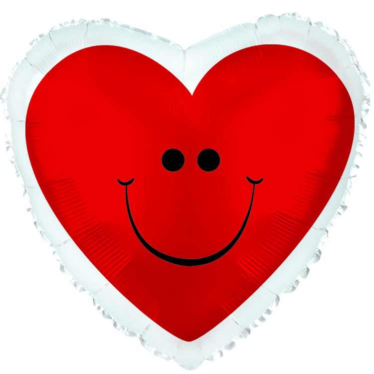 """18"""" Red Smiley Heart with Border Balloon"""