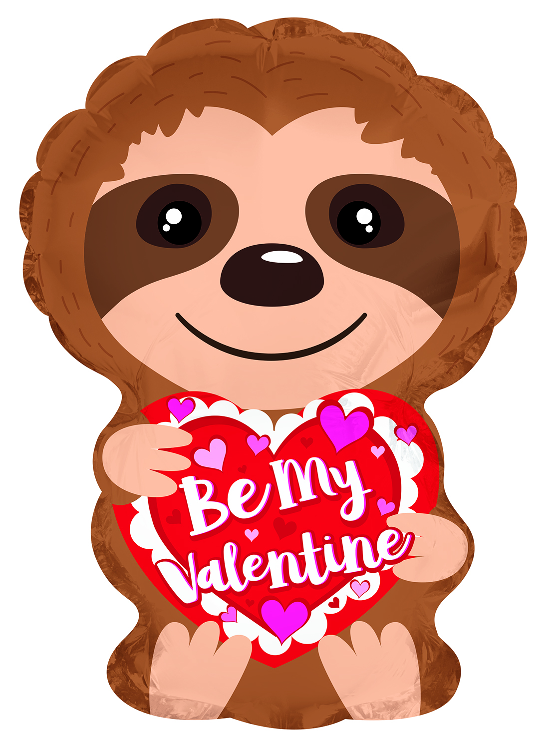 """10"""" Airfill Only Be My Valentine Sloth Heart Foil Balloon"""