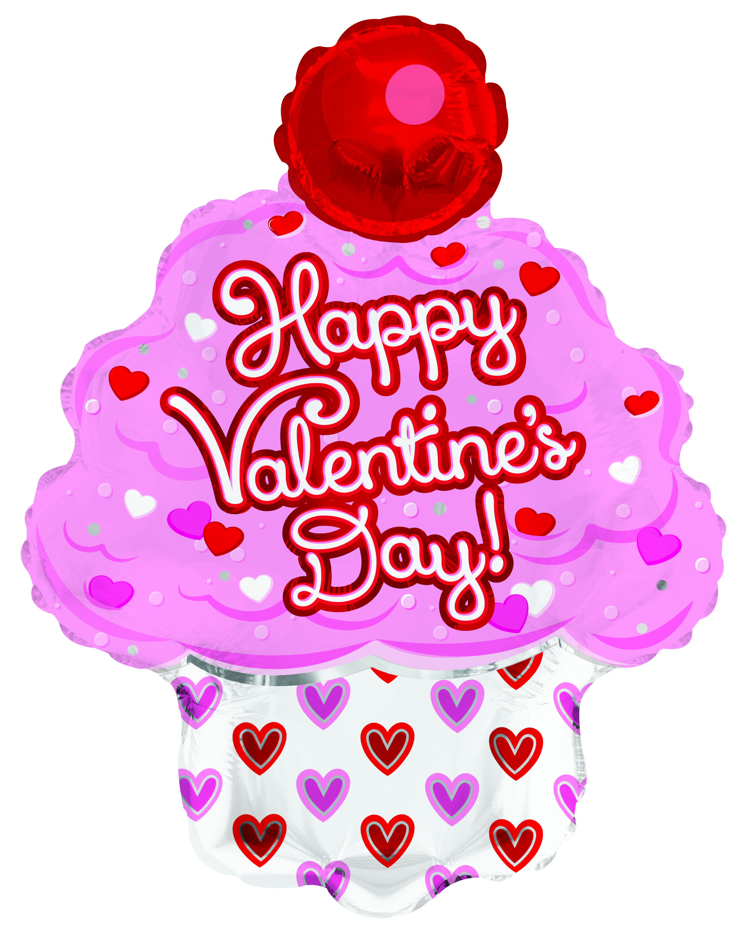 "14"" Airfill Only Happy Valentine's Day Cupcake Foil Balloon"