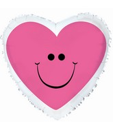 "18"" Pink Smiley Heart Mylar Balloon"