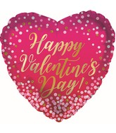 "17"" Happy Valentine's Day Confetti Dots Foil Balloon"