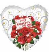 "17"" Happy Valentine's Day Rose Bouquet Foil Balloon"