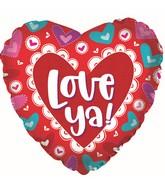 """17"""" Love Ya! DoI Love You Heart Foil Balloon"""
