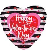 "17"" Happy Valentine's Day Black Stripes Foil Balloon"