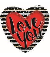 """18"""" Love You Stripes Foil Balloon"""