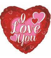 "9"" Airfill Only I Love You 3-Pink Hearts Foil Balloon"