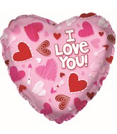 "9"" Airfill Only I Love You Pink Scribble Heart Foil Balloon"