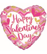 "9"" Airfill Only Happy Valentine's Day Pink & Glitter Foil Balloon"
