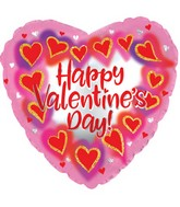 """14"""" Airfill Only Happy Valentine's Day Glitterrame Heart Foil Balloon"""
