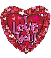 "14"" Airfill Only I Love You Pattern Hearts Foil Balloon"