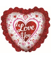 "12"" I Love You Prism Ruffle Foil Balloon"