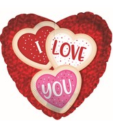 "9"" Airfill Only I Love You Cookies Heart Foil Balloon"
