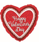 """27"""" Happy Valentine's Day Doily Love You Roses Foil Balloon"""