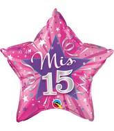 "20"" Star Mis 15 Hot Pink Balloon"