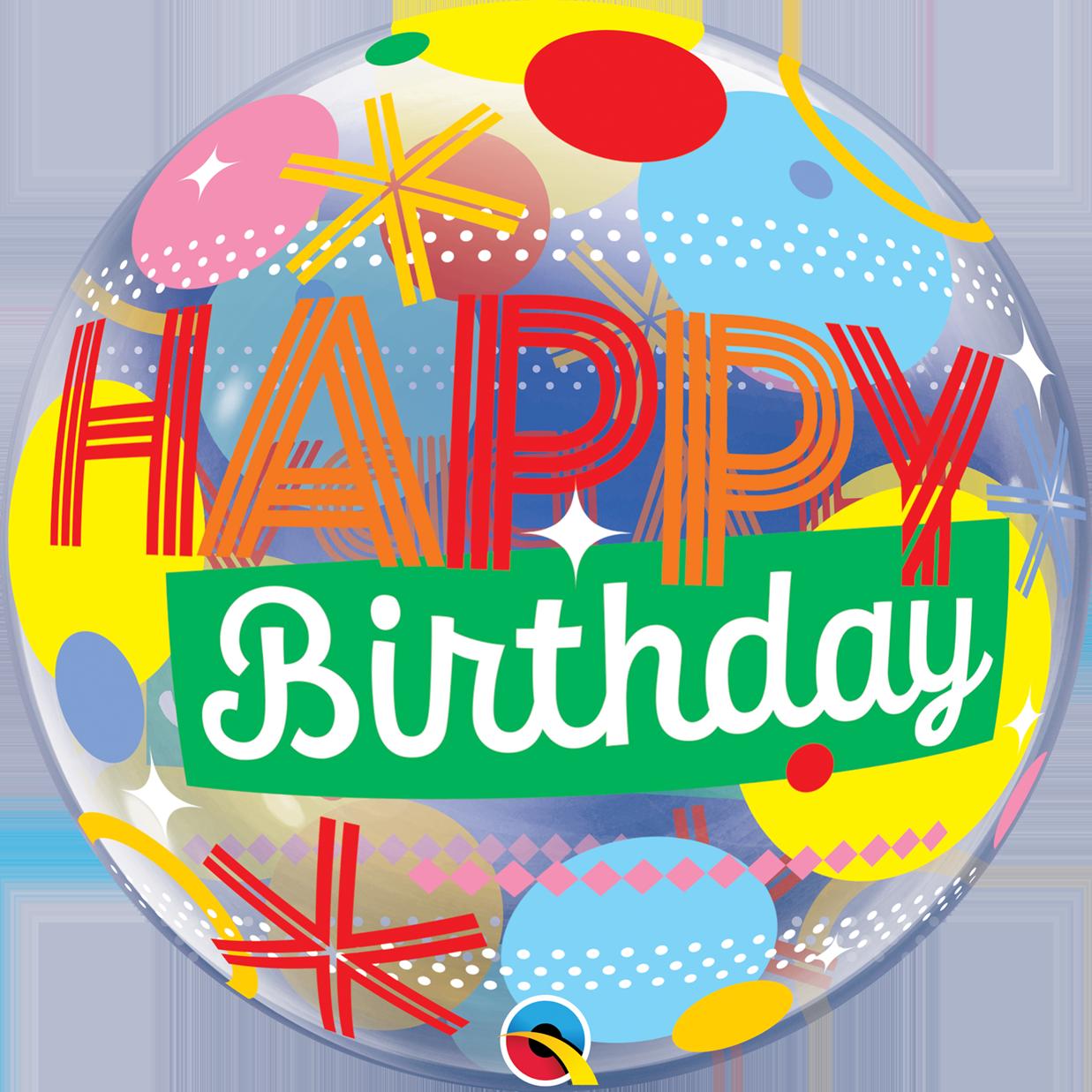 "22"" Birthday Circles & Dot Stripes Bubble Balloon"