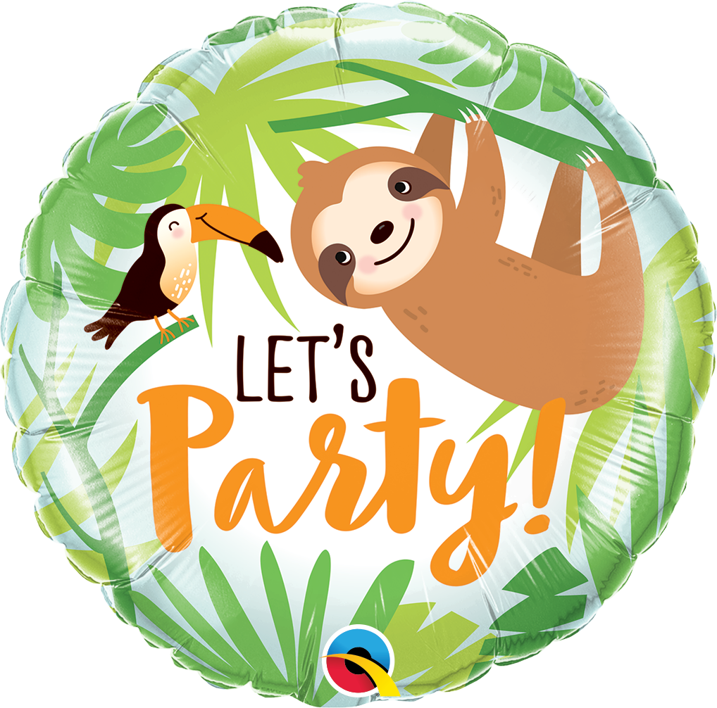 "18"" Round Let's Party Toucan & Sloth Foil Balloon"