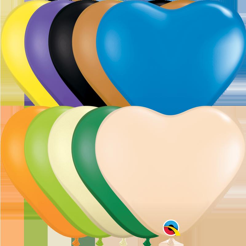 "6"" Heart Opaque Heart Assorted Latex Balloons (100 Per Bag)"