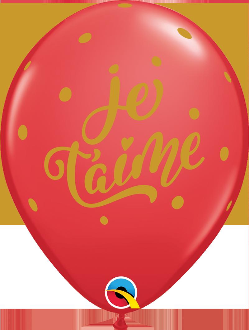 "11"" Red (50 Per Bag) Je T'Aime Bold Script Latex Balloons"