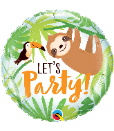 "18"" Round Let's Party Toucan & Sloth Foil Balloon"