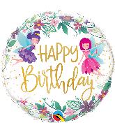 """18"""" Round Birthday Wild Flower Fairies Foil Balloon"""