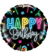 "18"" Round Happy Birthday Neon Glow Foil Balloon"