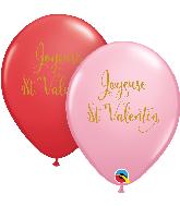 "11"" Red&Pink (50 Per Bag) Joyeuse St. Valentin Latex"