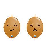 "6"" Qlink M. Brown (50 Per Bag) Happy/Sad Latex Balloons"