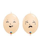 "6"" Qlink Blush (50 Per Bag) Happy/Sad Latex Balloons"