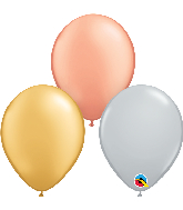 "5"" Silver, Gold, Rose Gold Latex Balloons (100 Per Bag)"
