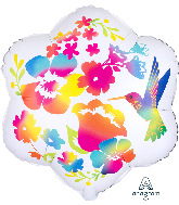 """18"""" Satin Infused Watercolor Flowers Foil Balloon"""