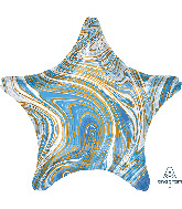 "18"" Marblez Blue Star Foil Balloon"