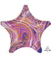 "18"" Marblez Purple Star Foil Balloon"