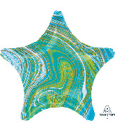 "18"" Marblez Blue Green Star Foil Balloon"
