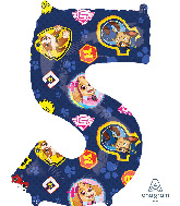 """26"""" Paw Patrol Number 5 Mid Size Shape Foil Balloon"""
