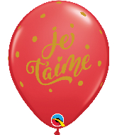 "11"" Red (50 Per Bag) Je T'Aime Bold Script Latex Balloons"