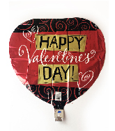 "18"" Happy Valentines Day Red & Gold Foil Balloon"