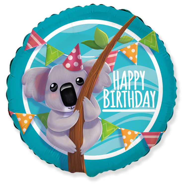 "18"" Happy Birthday Koala Foil Balloon"