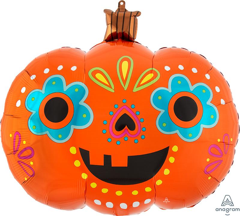 "24"" SuperShape Day of the Dead Pumpkin Foil Balloon"