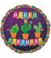 "17"" Happy Birthday Banner Cactus Foil Balloon"