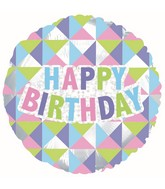 "17"" Happy Birthday Geometric Foil Balloon"
