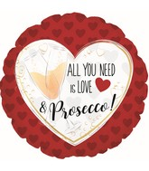 "18"" All You Need Is Love & Prosecco Foil Balloon"