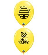 "11"" Yellow (50 Per Bag) Bee Happy Latex Balloons"