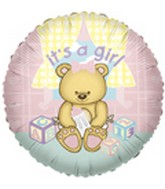 "36"" It's A Girl Bear Balloon"