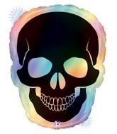 "27"" Shape Holographic Opal Skull Foil Balloon"