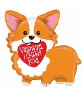 "35"" Shape Packaged Valentine Corgi Foil Balloon"