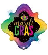 "29"" Shape Holographic Opal Mardi Gras Foil Balloon"