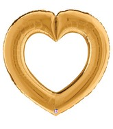 """41"""" Linking Heart Gold Foil Balloon"""
