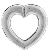 "41"" Linking Heart Silver Foil Balloon"